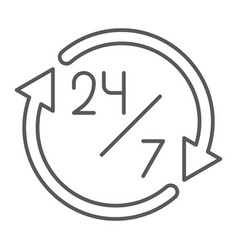 twenty four hour thin line icon open and service vector image