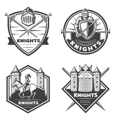 Vintage medieval emblems set vector