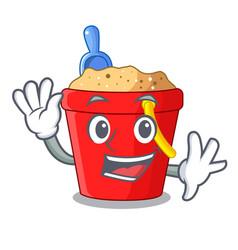 Waving beach bucket shape the fun character vector