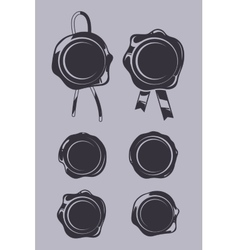Wax seals black templates set vector