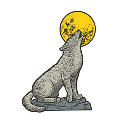 wolf howling at moon sketch vector image
