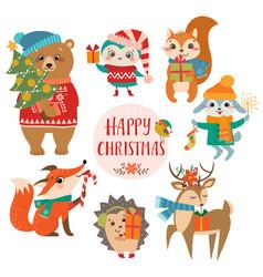 cute christmas greetings vector image vector image