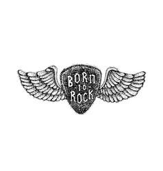 dotwork born to rock vector image