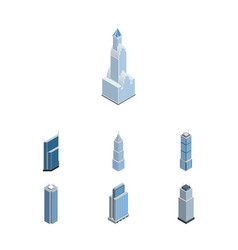 Isometric construction set of exterior urban vector