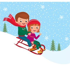Kids sledding vector image vector image