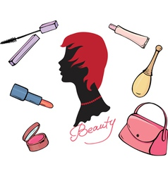 Set of cosmetic items vector image vector image