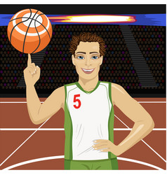 young man spinning basketball ball with his finger vector image