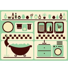 Bath room and bathing objects set vector image