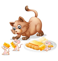 Cat and mice vector image vector image