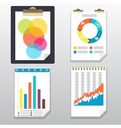 Clipboard charts and graphs on paper page vector