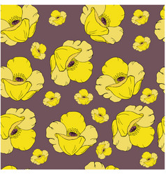 seamless pattern with yellow poppy flowers on dark vector image vector image
