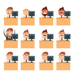 set of business men at work icons vector image