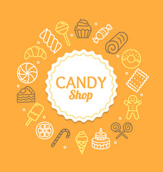 candy shop color round design template line icon vector image vector image
