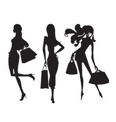 fashion shopping girls vector image vector image