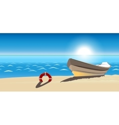 seascape boat sandy beach icon isolated vector image vector image