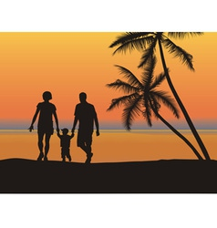 young family on the beach vector image