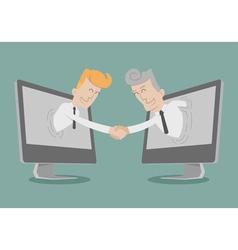 Businessman shake hand Online Business vector image