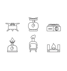 camping stove set lineare icon furnace travel vector image vector image