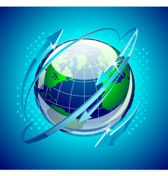 globe with arrows around it vector image vector image