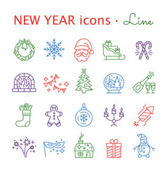 new year icons christmas party elements vector image vector image