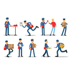 postman characters in different situations set vector image vector image