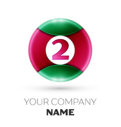 Realistic number two symbol in colorful circle vector