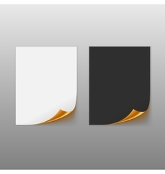Set of paper sheets with golden curled corner vector