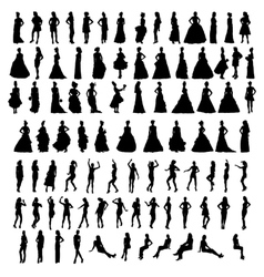 Silhouettes of beautiful women vector image
