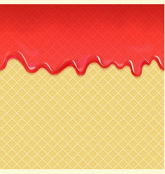 wafer and flowing red strawberry jam vector image vector image