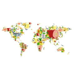 World map with food and drinks vector image