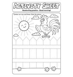 Activity sheet handwriting practise topic 2 vector