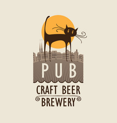 banner for beer pub with cat in an old town vector image