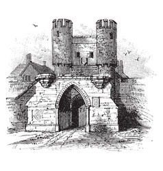 Barbican of walmgate bar york vintage engraving vector