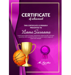 basketball game certificate diploma with golden vector image