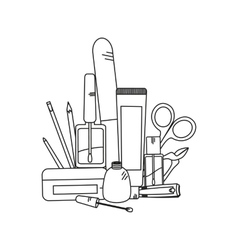 Beauty background with manicure tools vector image vector image
