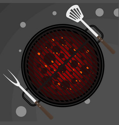 Big fork and spatula on grill vector