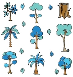 Blue tree style of doodles vector