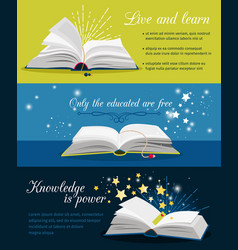books reading banners open book with stars and vector image
