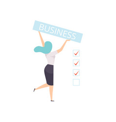 businesswoman holding a banner with the vector image