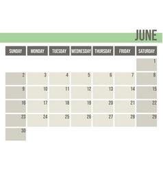 calendar planner 2019 monthly planner june vector image