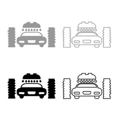 car wash automatic icon outline set grey black vector image