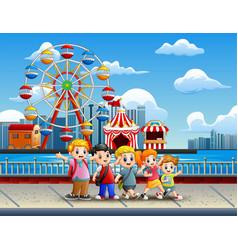 Cartoon of children having fun on the lakeside wit vector