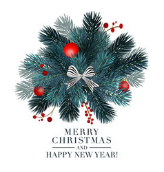 Christmas 2019 greeting card with fir ball and re vector
