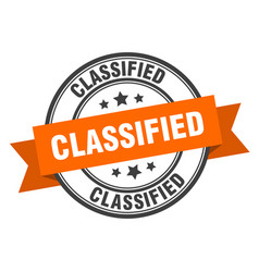 Classified label classified orange band sign vector