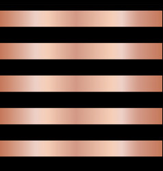 Copper rose gold foil stripes on black seamless vector