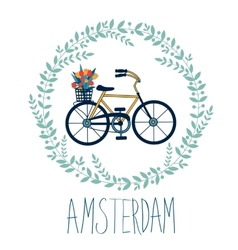 Cute Amsterdam card with tulips in bycicle basket vector image