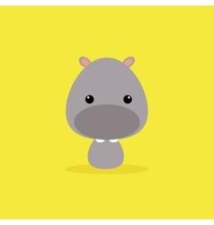 Cute cartoon wild hippo vector