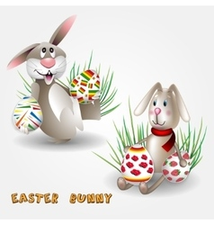 Easter Bunny with Easter eggs vector image