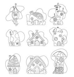 fantasy house set cartoon fairy treehouse vector image
