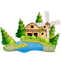 Farm scene with barn by the river vector
